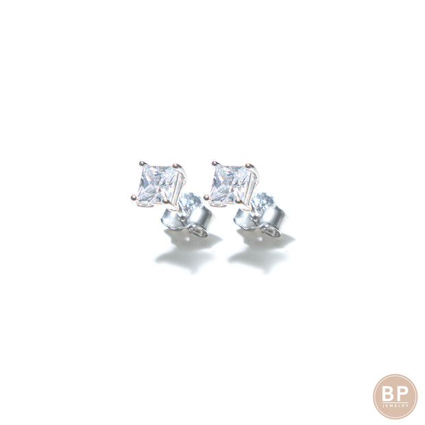 Square Mini Silver Studs - BERNA PECI JEWELRY