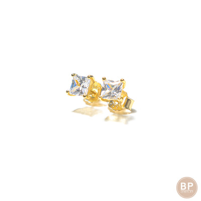 Mini Square Gold Studs - BERNA PECI JEWELRY