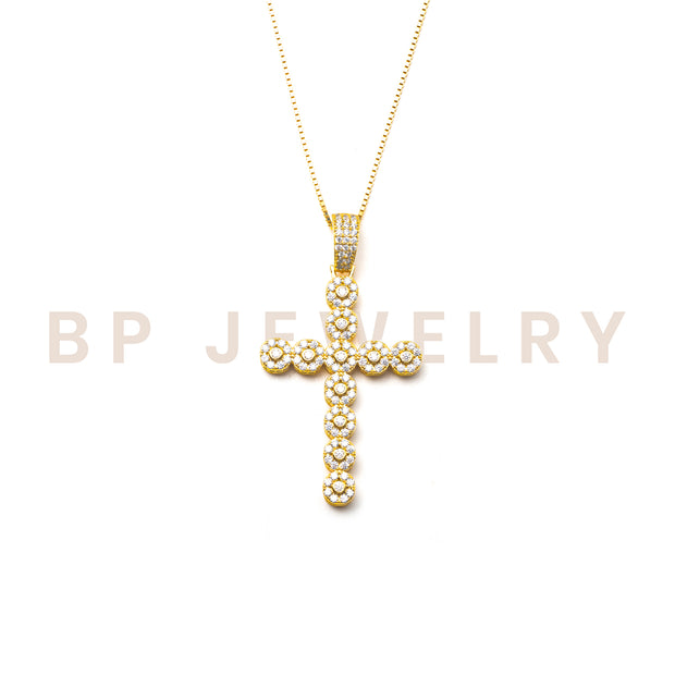 New Gold Circular Crystal Cross - BERNA PECI JEWELRY