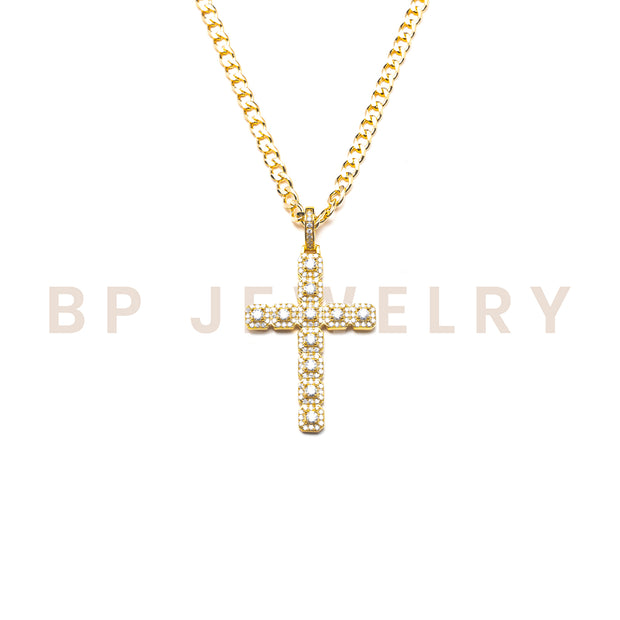 Square Style Gold Cross Necklace - BERNA PECI JEWELRY