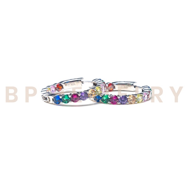 Rainbow Diamond Medium Hoops - BERNA PECI JEWELRY