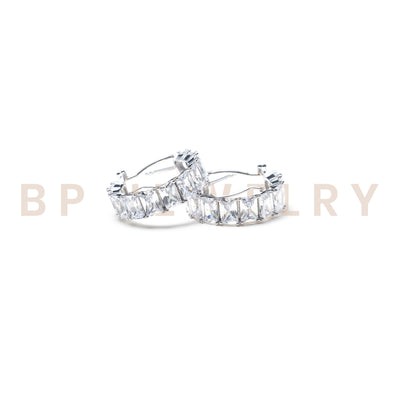 New Icy Silver Diamond Hoops - BERNA PECI JEWELRY
