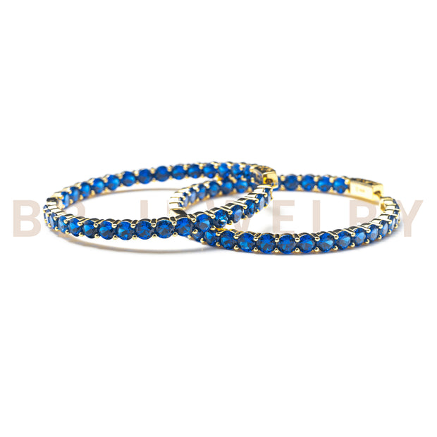 Large Sapphire Gold Hoops - BERNA PECI JEWELRY