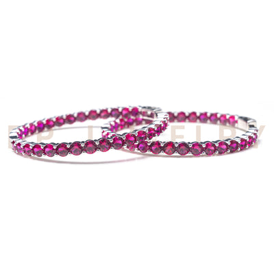 Large Hot Pink Hoops - BERNA PECI JEWELRY