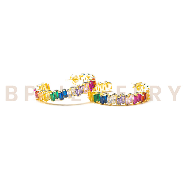 Rainbow Gold Ice Hoops - BERNA PECI JEWELRY