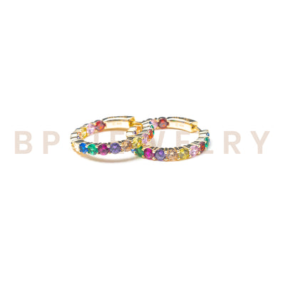 Mini Gold Rainbow Hoops - BERNA PECI JEWELRY