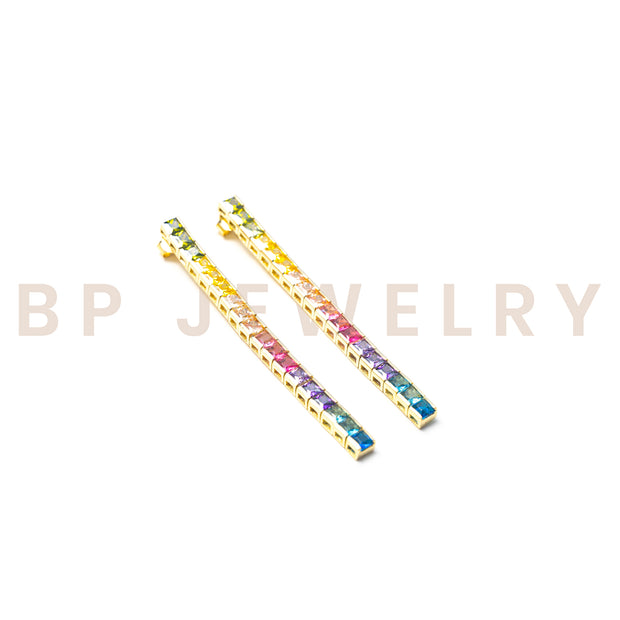 Vertical Gold Crystal Rainbow Earrings - BERNA PECI JEWELRY