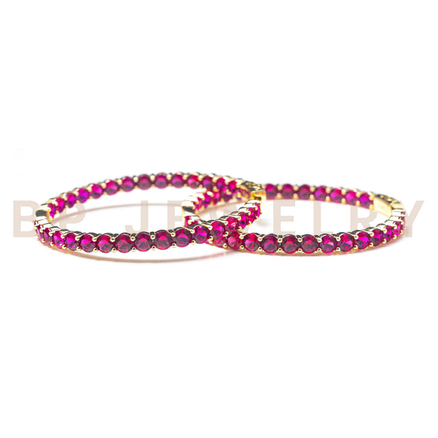 Large Hot Pink Gold Hoops - BERNA PECI JEWELRY