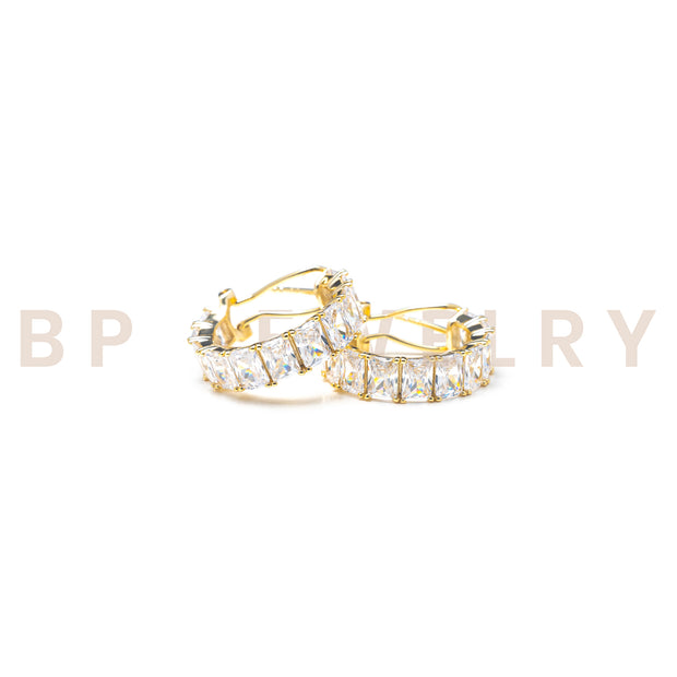 New Icy Gold Diamond Hoops - BERNA PECI JEWELRY