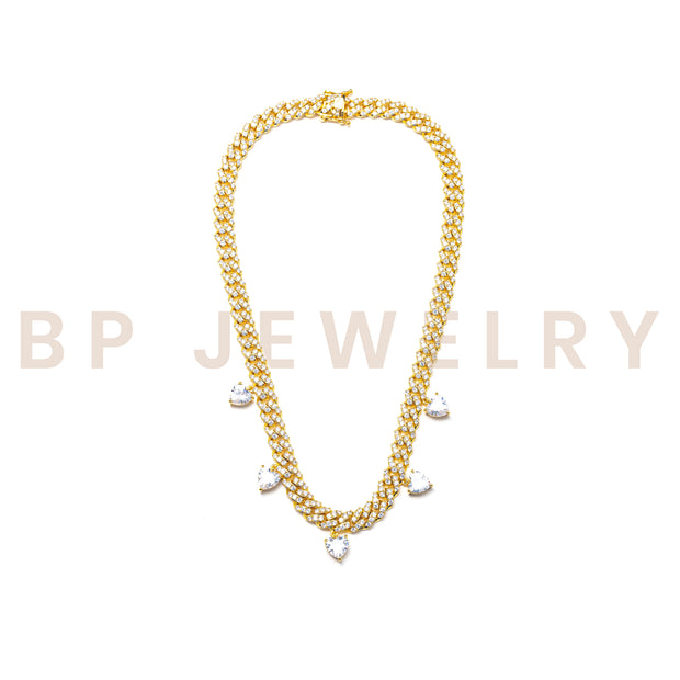 Gold Teardrop Diamond Cuban - BERNA PECI JEWELRY