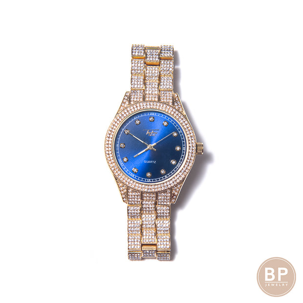 Blue Face Classic Diamond Circular Watch - BERNA PECI JEWELRY