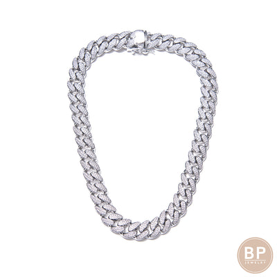 "New Classic 14"" Silver BP Cuban - BERNA PECI JEWELRY"