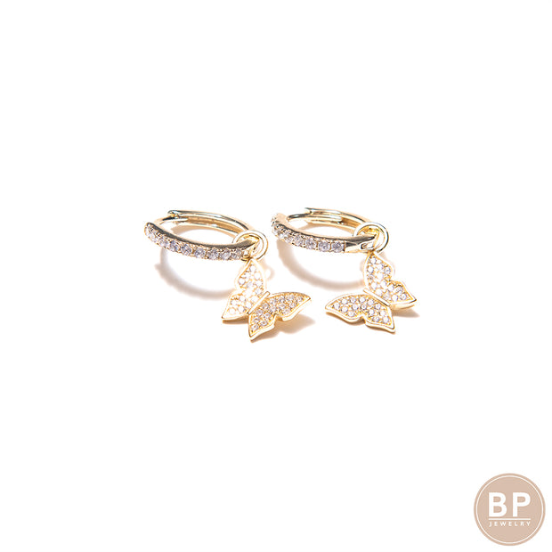 Mini Gold BP Butterfly Hoops - BERNA PECI JEWELRY