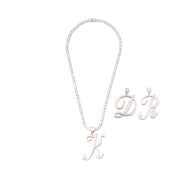 Icy Silver Initial Necklace Set - BERNA PECI JEWELRY