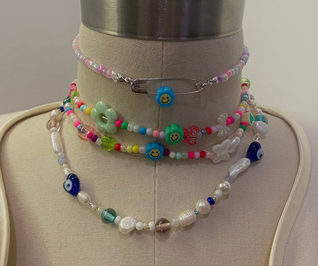 Funky Pin Beaded Necklace - BERNA PECI JEWELRY
