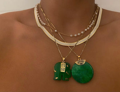 Circular Jade Necklace - BERNA PECI JEWELRY