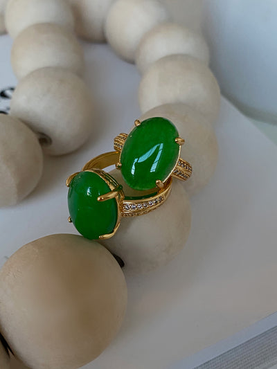 Gold Single Jade Stone Ring - BERNA PECI JEWELRY