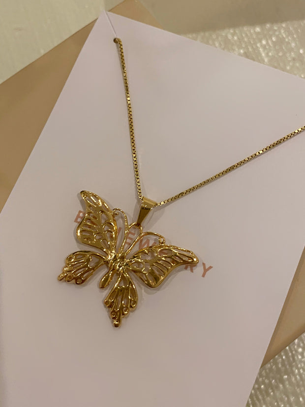 New Gold Butterfly Pendant - BERNA PECI JEWELRY
