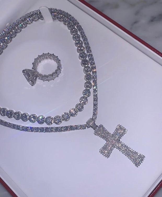 Princess Diamond Silver Necklace - BERNA PECI JEWELRY