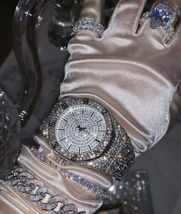 Silver Iced Out Watch - BERNA PECI JEWELRY