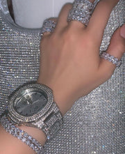 Large Silver Iced Watch - BERNA PECI JEWELRY
