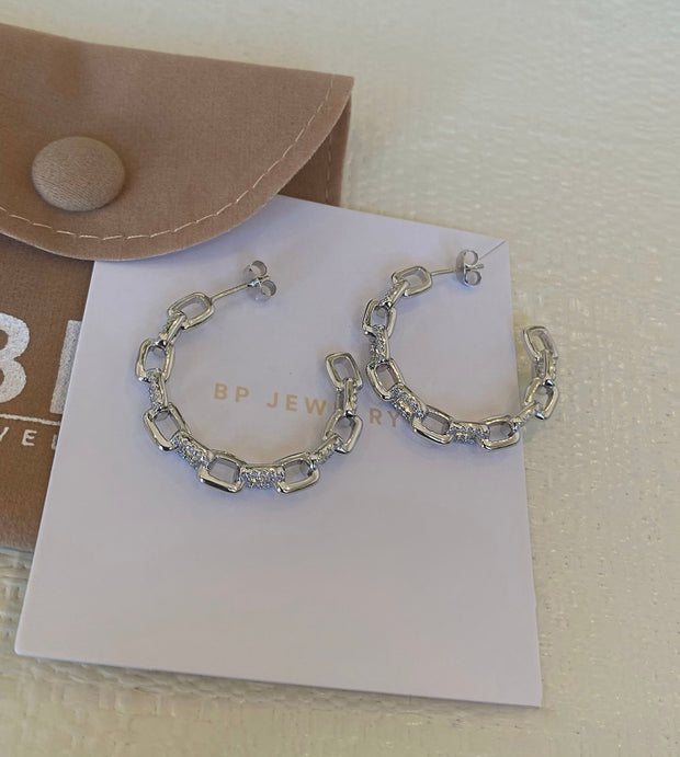 Icy Silver Link Hoops - BERNA PECI JEWELRY