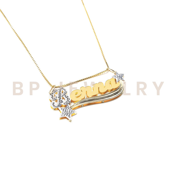 Personalized 14K Gold Personalized 3D Double Star Necklace - BERNA PECI JEWELRY