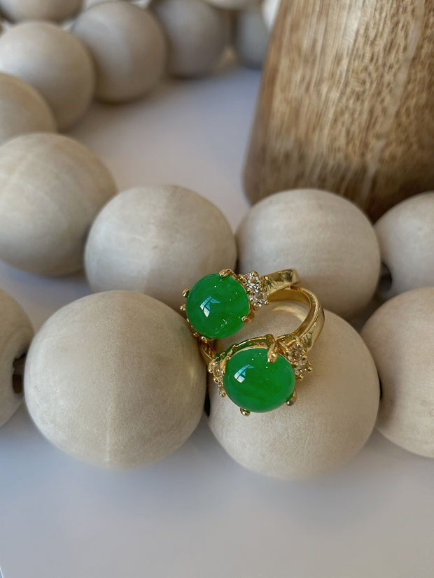 Gold Mini Single Jade Ring - BERNA PECI JEWELRY