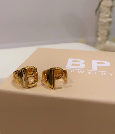 Custom Gold Initial Ring - BERNA PECI JEWELRY