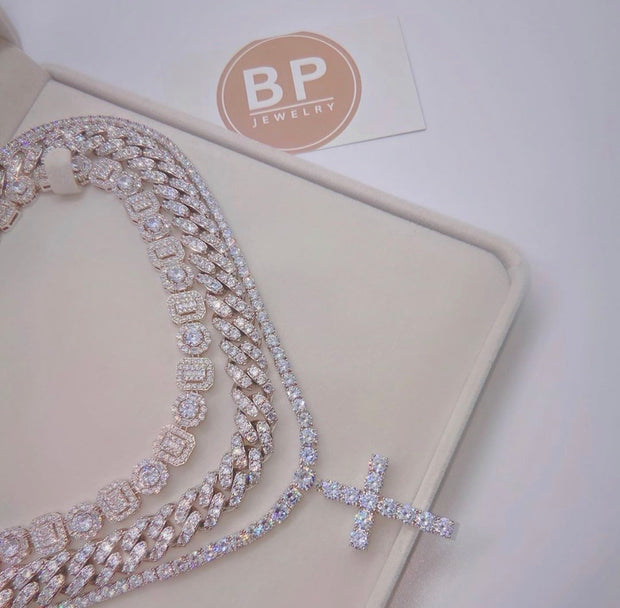 All Around Silver Diamond Link Necklace - BERNA PECI JEWELRY