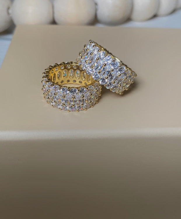 New Diamond Double Up Gold Band - BERNA PECI JEWELRY