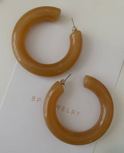 Large Acrylic Coffee hoops - BERNA PECI JEWELRY