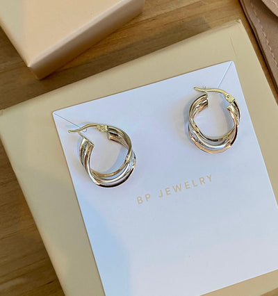 Solid 14k Gold Two Tone Hoops - BERNA PECI JEWELRY
