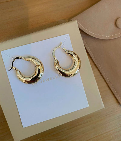 Staple Gold Summer Hoops - BERNA PECI JEWELRY
