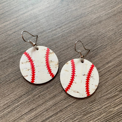 Small Cork Leather Baseballs Earrings