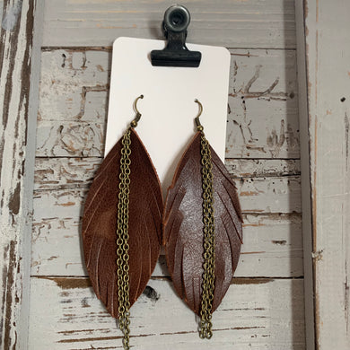 Brown Feather Fringe with Chain Leather Earrings