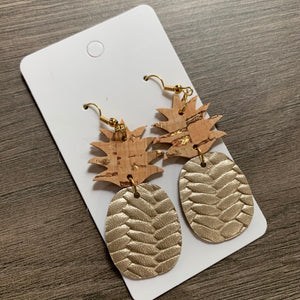 Gold Cork Pineapple Leather Earrings