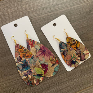 Gold Floral Long Teardrop Leather Earrings