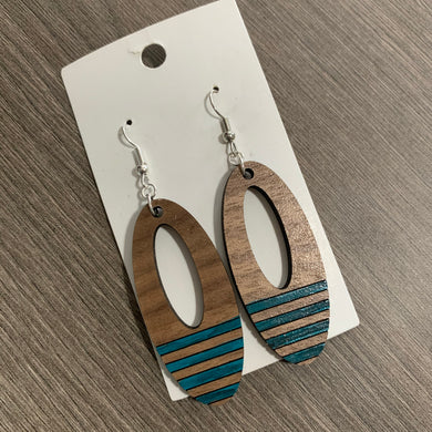 Wooden Oval Engraved and Painted Stripe Earrings