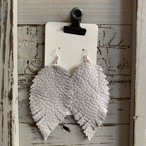 Light Gray Feather Leather Earrings