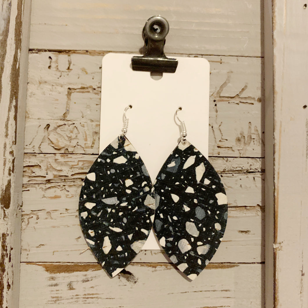 Black Granite Leaf Cork Leather Earrings