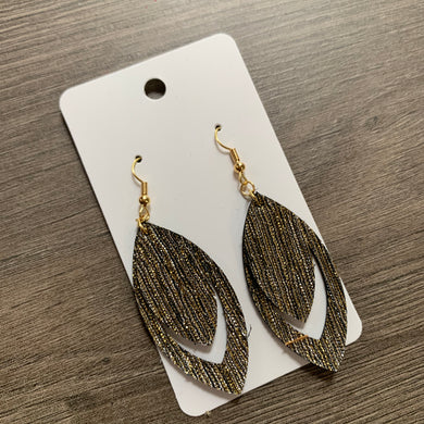 Black And Gold Metallic Leather Earrings