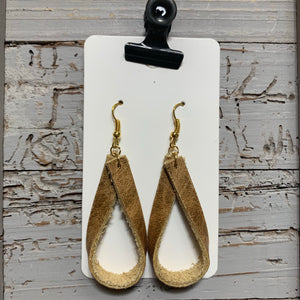 Light Tan Loop Leather Earrings