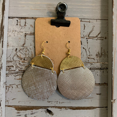 Silver and Gold Cut Circle Leather Earrings
