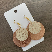 Rose Gold and Cream Leather Earrings