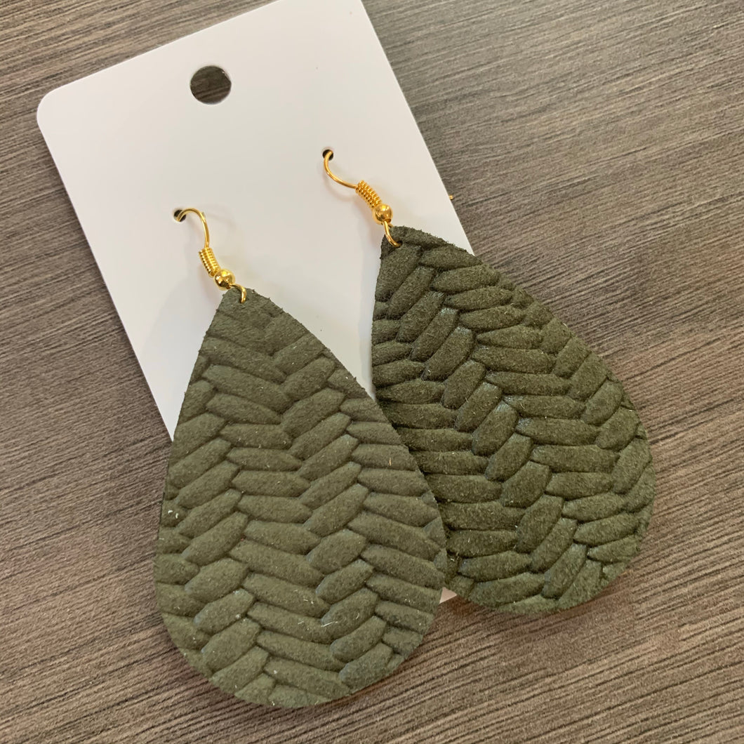 Green Braided Teardrop Leather Earrings