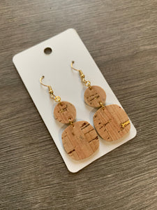 Small Gold Fleck Cork Drop Earrings