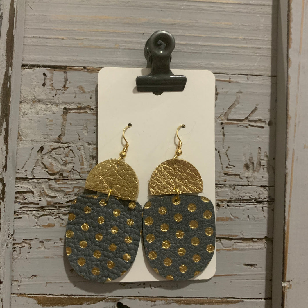 Gray and Gold Polkadot Drop Leather Earrings
