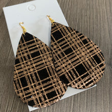 Copper and Black Metallic Plaid Teardrop Leather Earrings