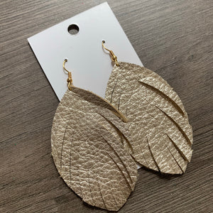 Light Gold Large Fringe Leather Earrings